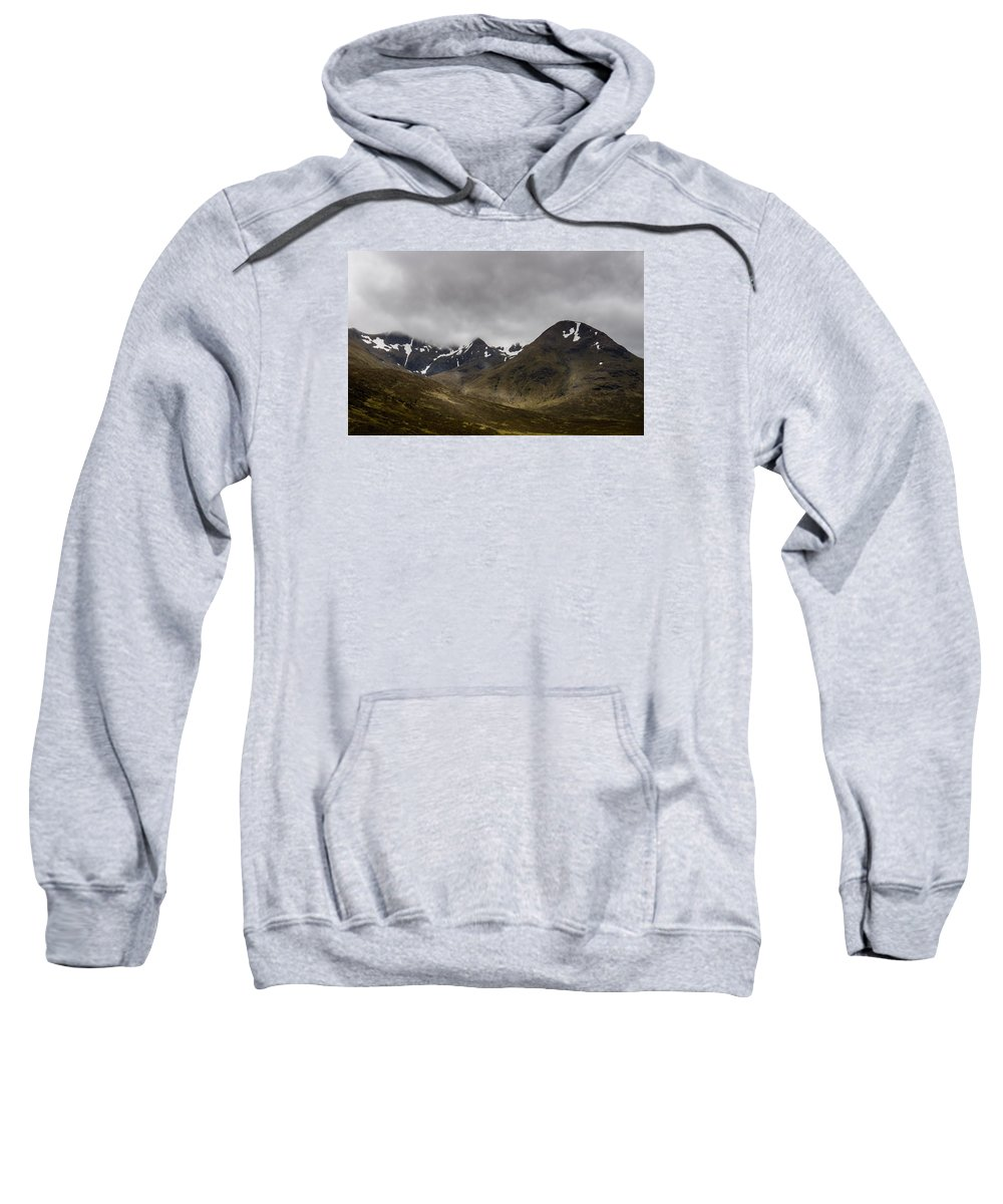 Snow Sweatshirt featuring the photograph Snow And Fog Over Glengo Mountain In Scotland. by Ineke Mighorst