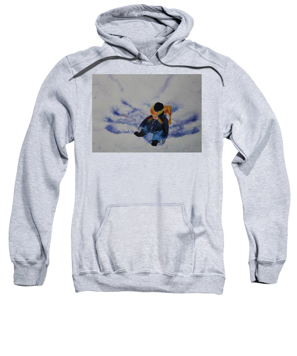 Winter Sweatshirt featuring the painting Snow Angel by Ruth Kamenev
