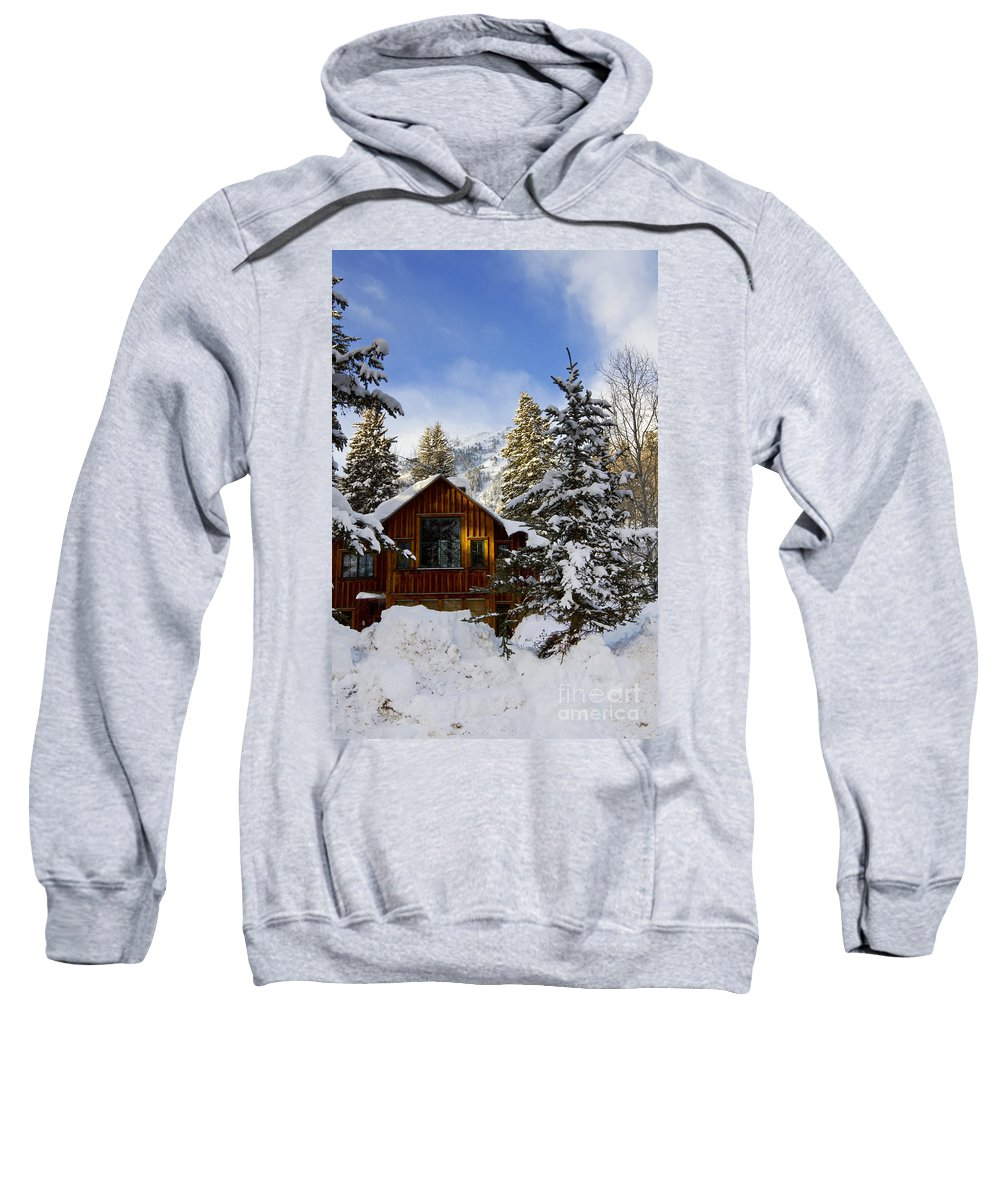 Winter Sweatshirt featuring the photograph Snow Covered Cabin by Scott Pellegrin
