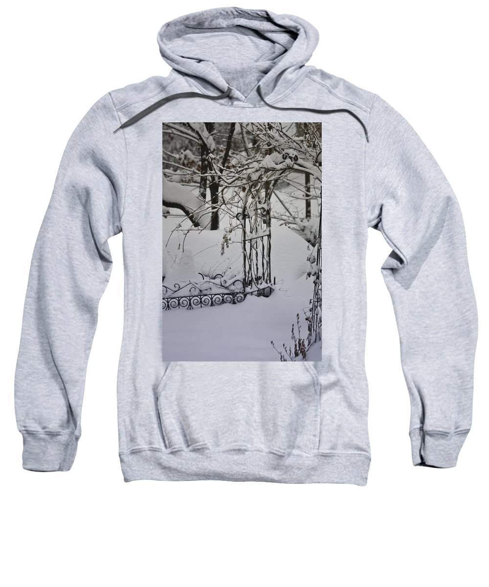 Snow Sweatshirt featuring the photograph Snow Covered Wisteria Arch by Teresa Mucha