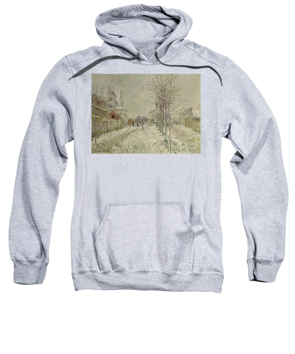 Snow Effect Sweatshirt featuring the painting Snow Effect by Claude Monet