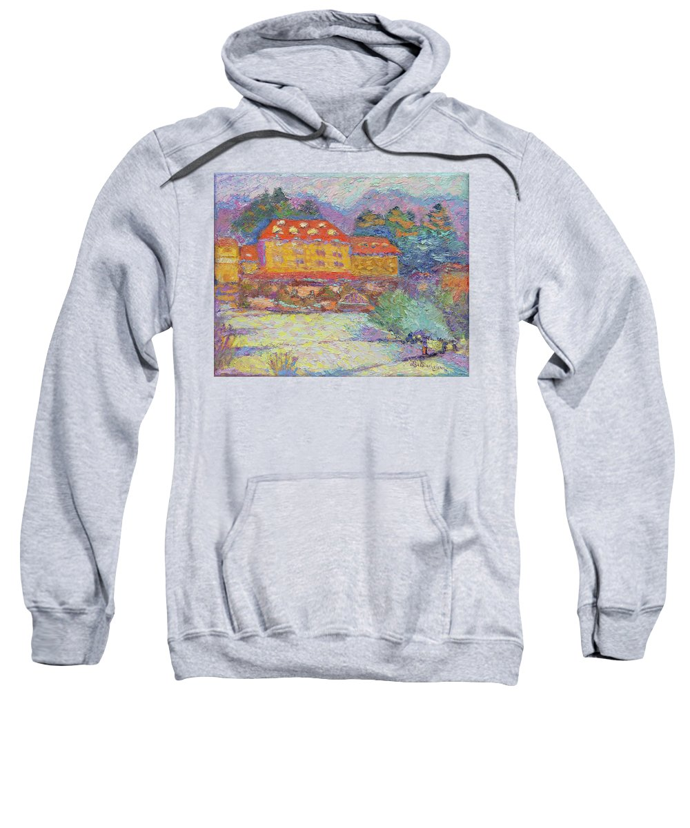 Grove Park Inn Sweatshirt featuring the painting Snow Grove Park Inn by Lisa Blackshear