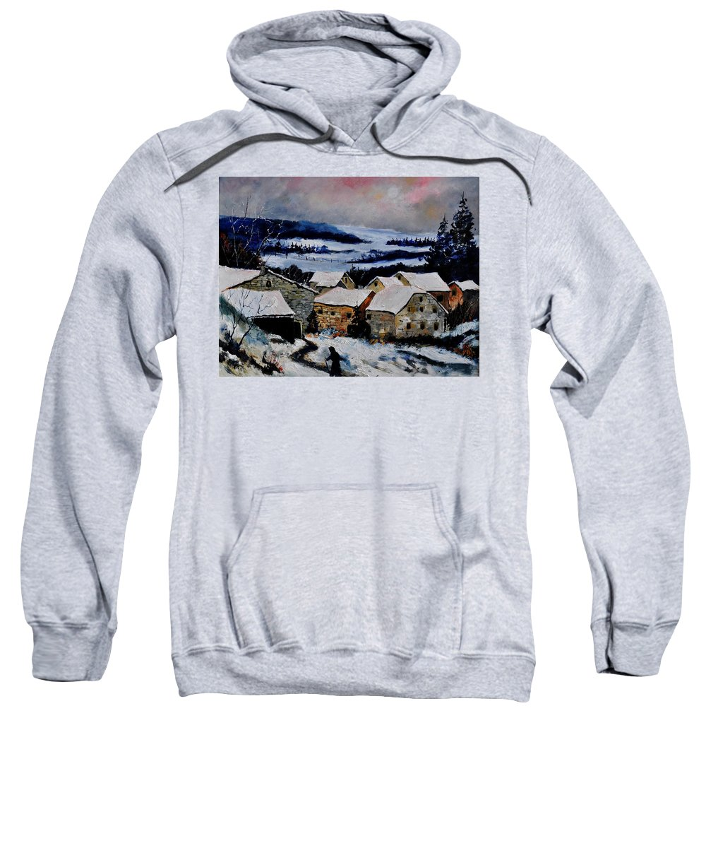 Landscape Sweatshirt featuring the painting Snow In Ardennes 79 by Pol Ledent