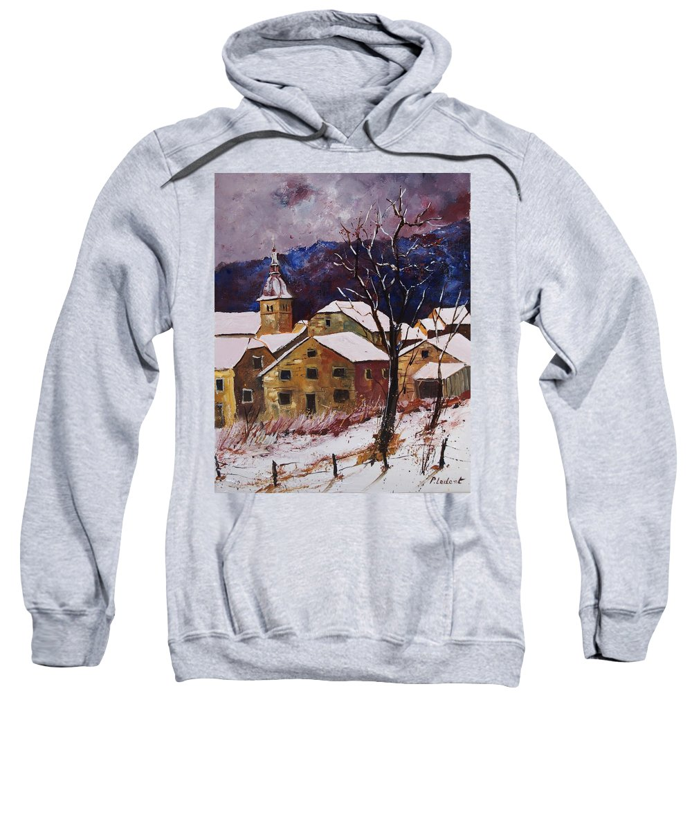 Landscape Sweatshirt featuring the painting Snow In Chassepierre by Pol Ledent