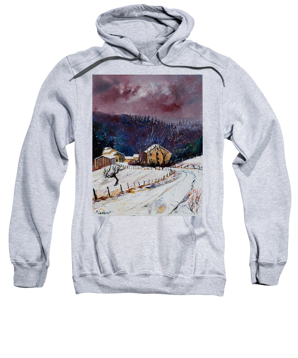 Landscape Sweatshirt featuring the painting Snow In Sechery by Pol Ledent