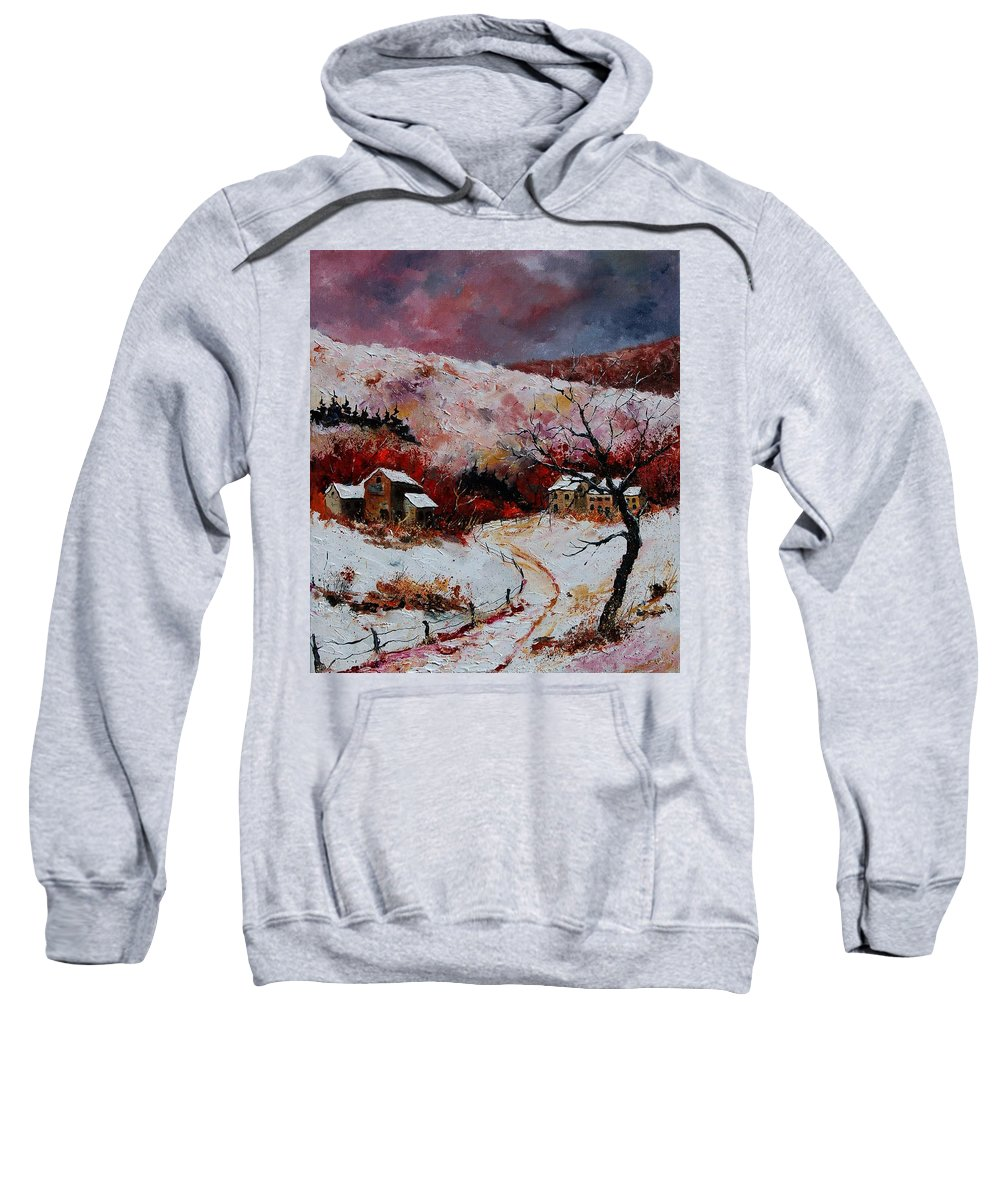 Snow Sweatshirt featuring the painting Snow In The Ardennes 78 by Pol Ledent