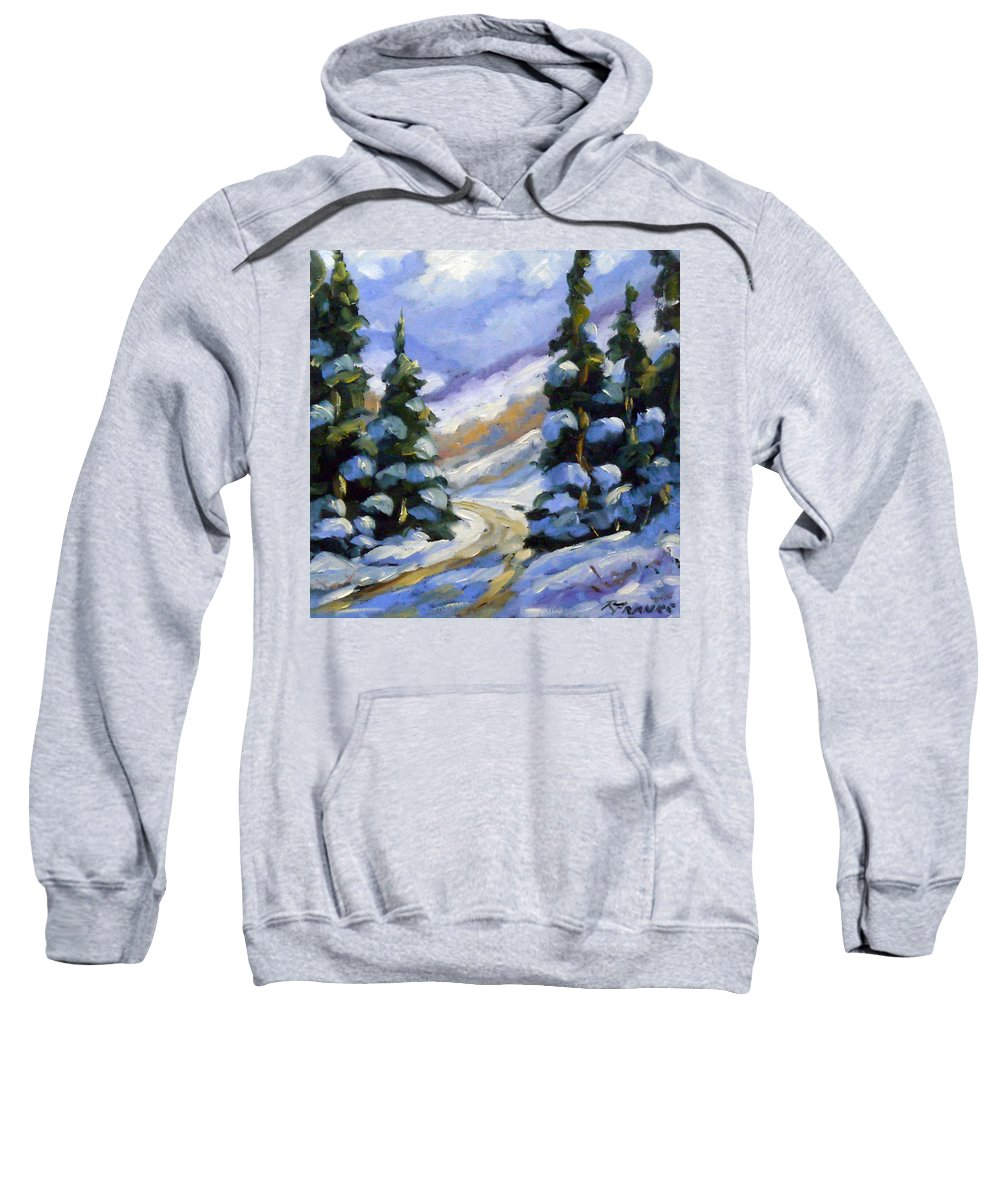 Art Sweatshirt featuring the painting Snow Laden Pines by Richard T Pranke