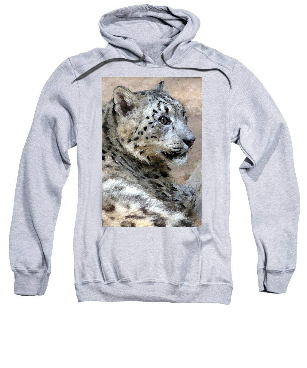Cat Sweatshirt featuring the painting Snow Leopard by Stephen Anderson