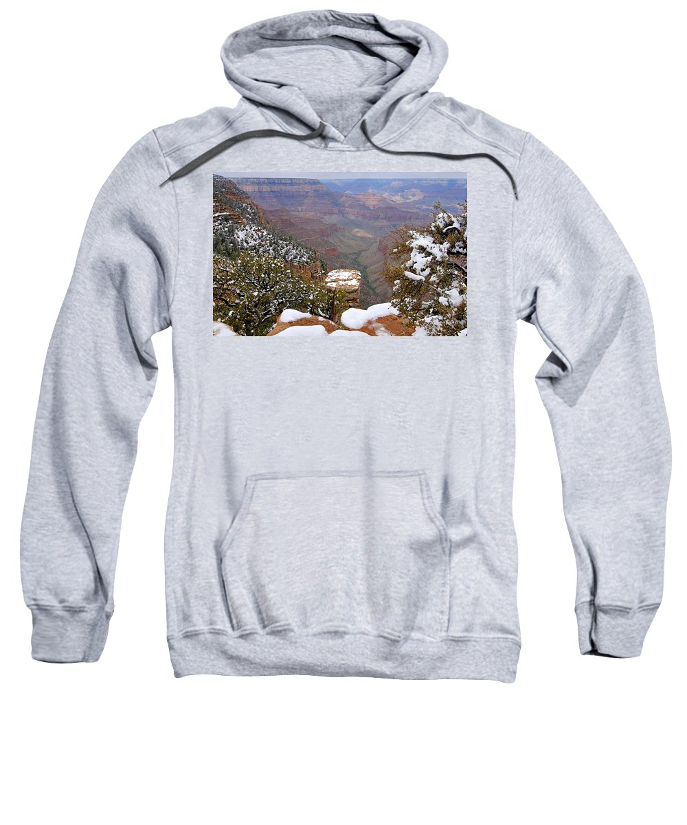 Grand Canyon National Park Sweatshirt featuring the photograph Snow On The Grand Canyon by Larry Ricker