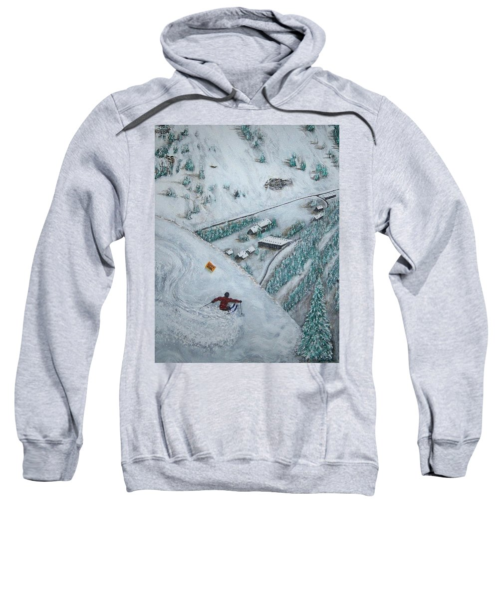 Ski Sweatshirt featuring the painting Snowbird Steeps by Michael Cuozzo