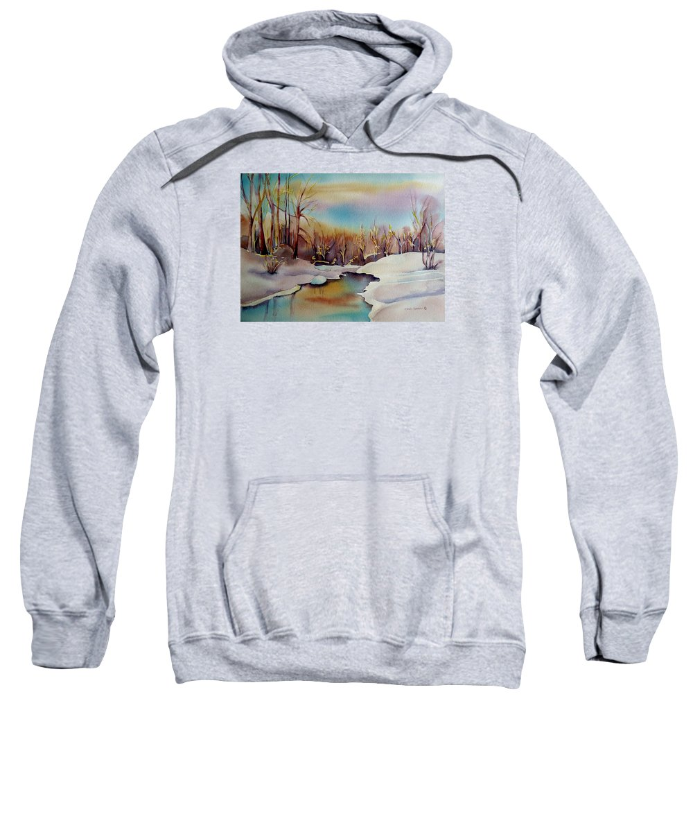 Winterscene Sweatshirt featuring the painting Snowfall by Carole Spandau