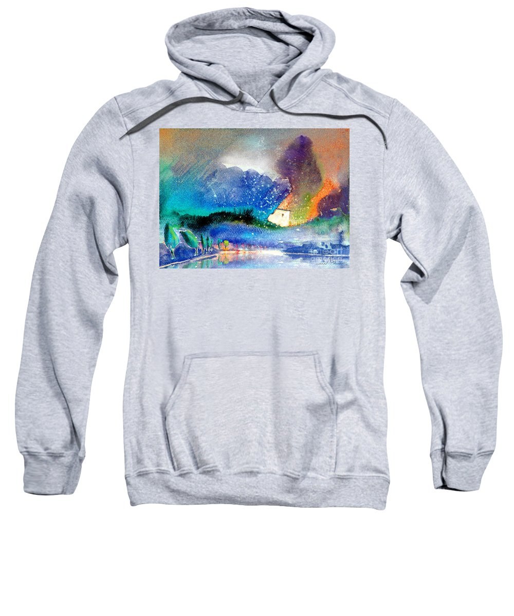 Watercolour Painting Spain Landscape Aquarelle Acuarela Impressionism Sweatshirt featuring the painting Snowing All Over Spain by Miki De Goodaboom