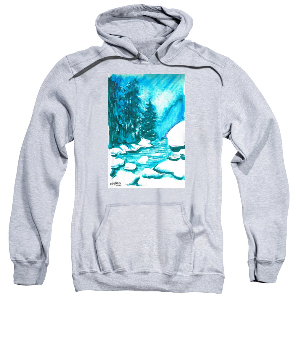 Chilling Sweatshirt featuring the mixed media Snowy Creek Banks by Seth Weaver
