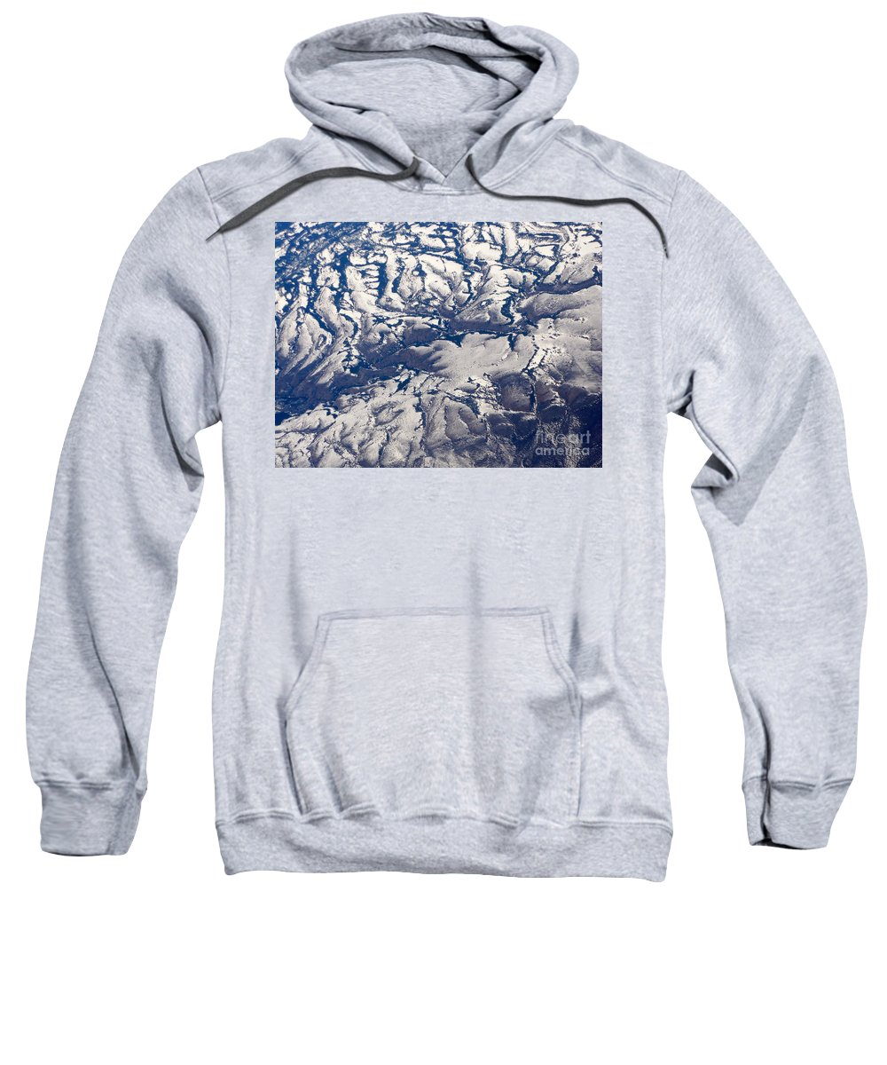 Aerial Sweatshirt featuring the photograph Snowy Landscape Aerial by Carol Groenen
