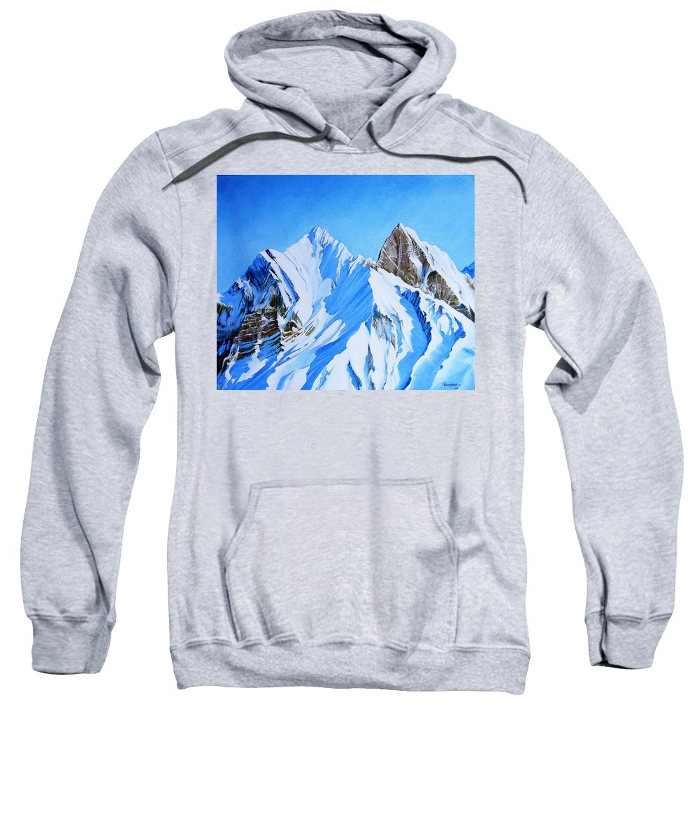 Snow Sweatshirt featuring the painting Snowy Mountain by Juan Alcantara