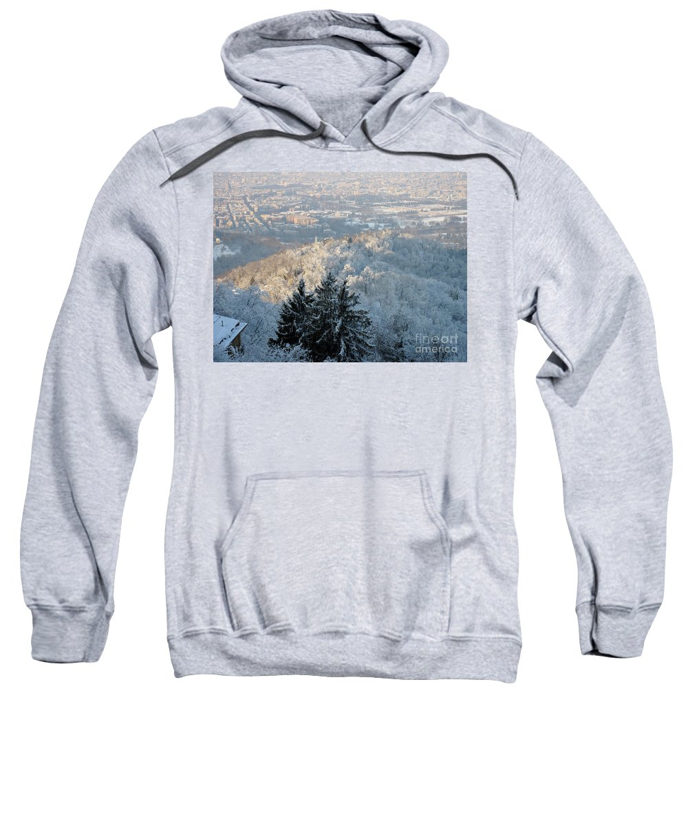 Horizontal Sweatshirt featuring the photograph Snowy Turin by Stefania Levi