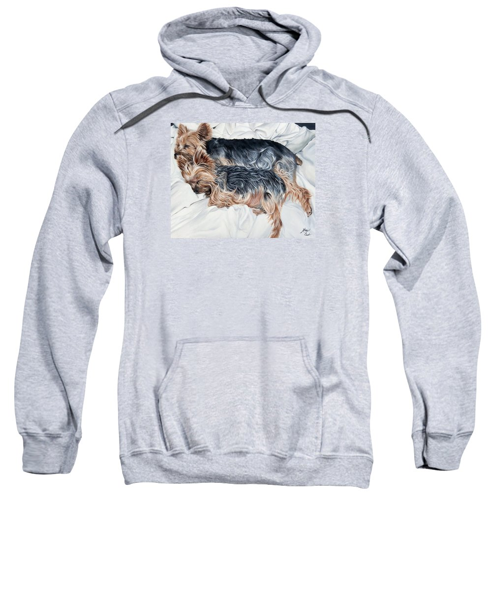 Cute Sweatshirt featuring the painting Snuggling Yorkies by Alexandra Cech