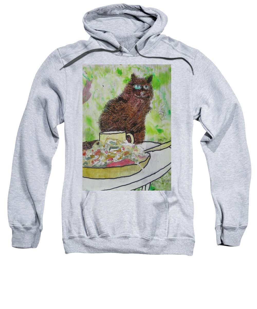 Green Sweatshirt featuring the painting So by AJ Brown