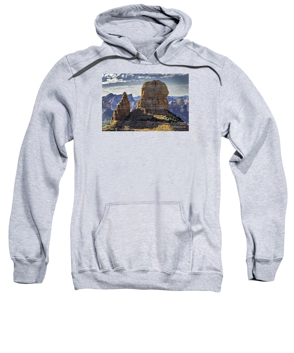 Mountains Sweatshirt featuring the photograph Soaring Red Rock Monoliths by Joseph Yvon Cote