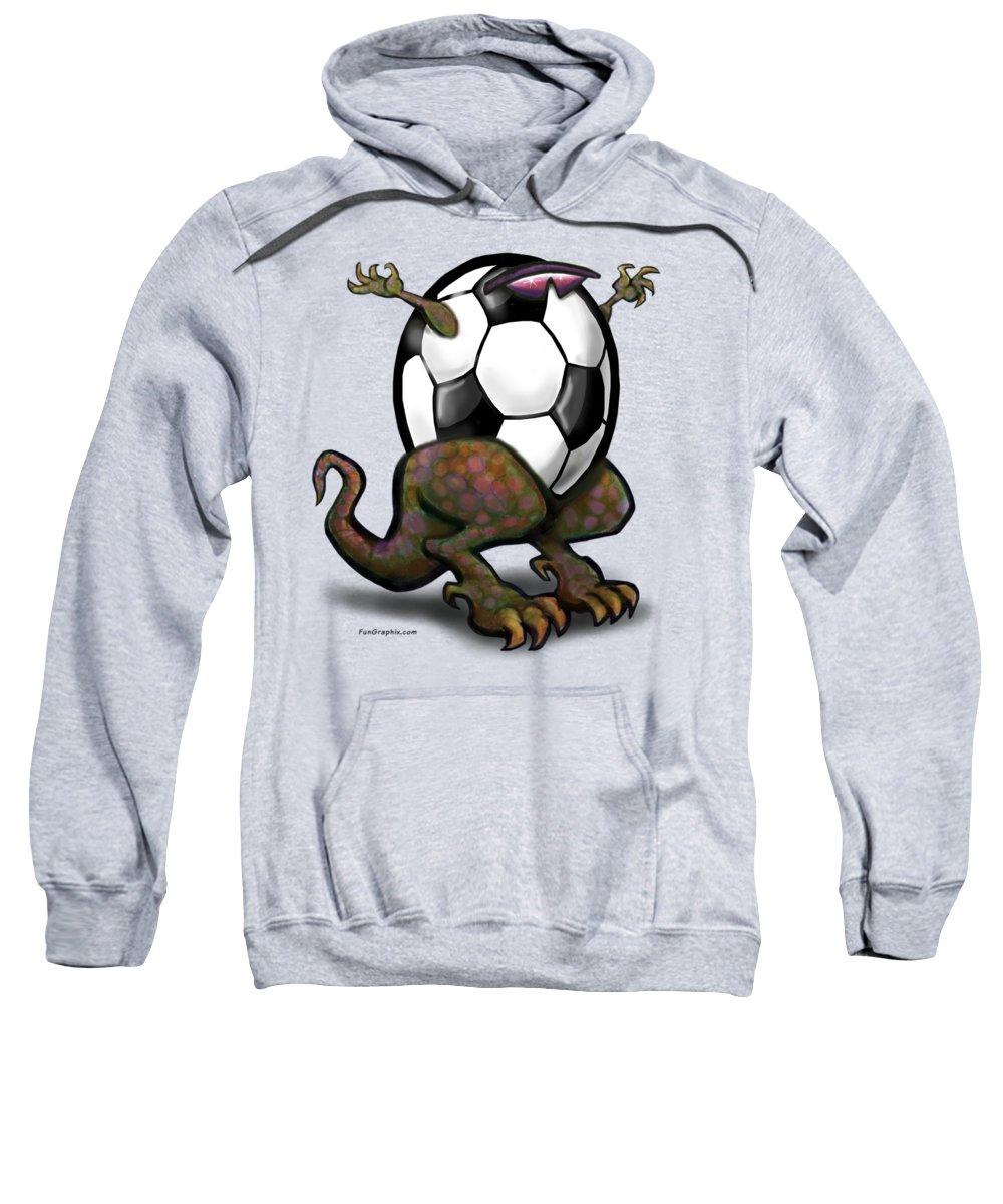 Soccer Sweatshirt featuring the digital art Soccer Saurus Rex by Kevin Middleton