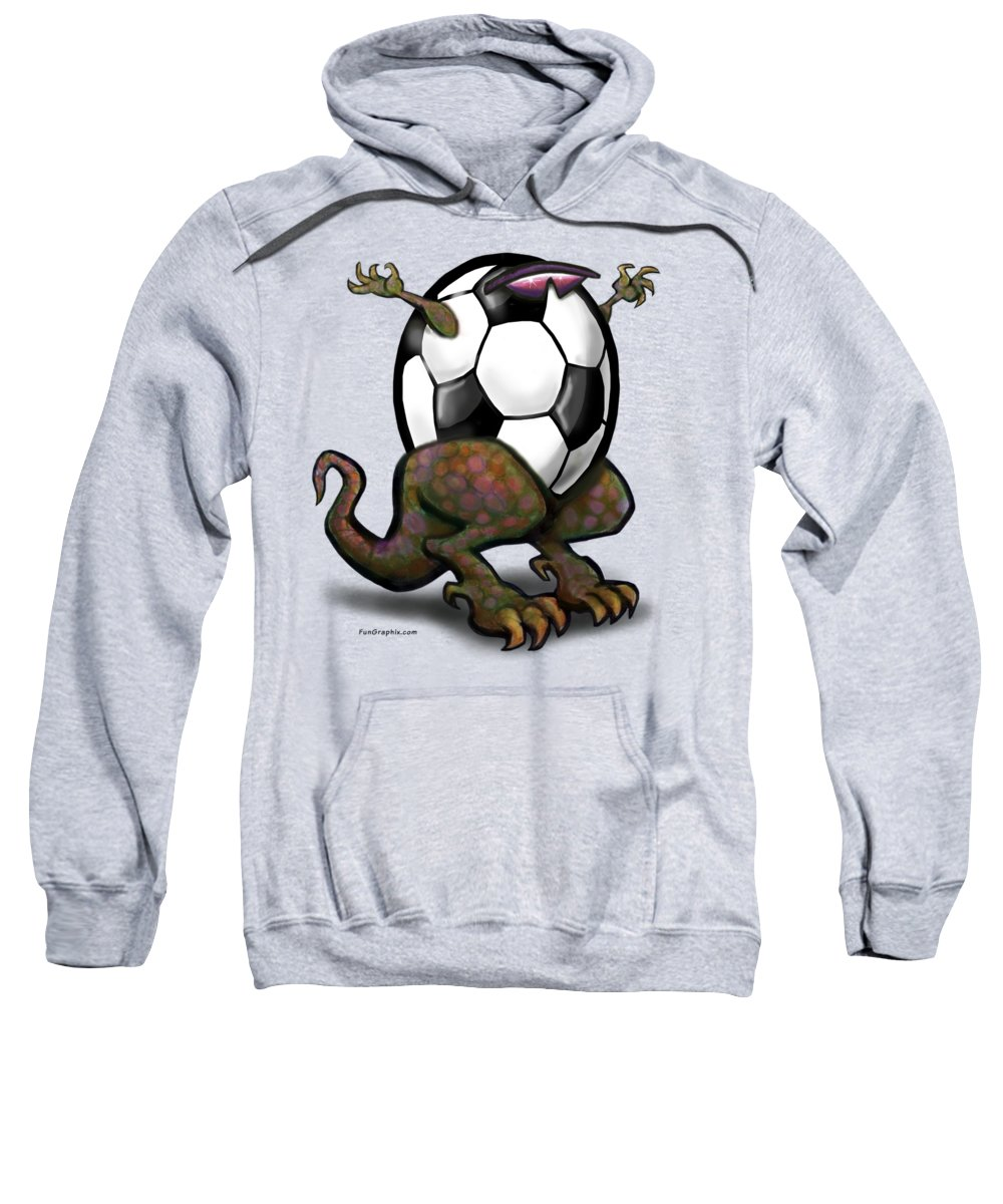 Soccer Sweatshirt featuring the digital art Soccer Saurus Rex by Kevin Middleton