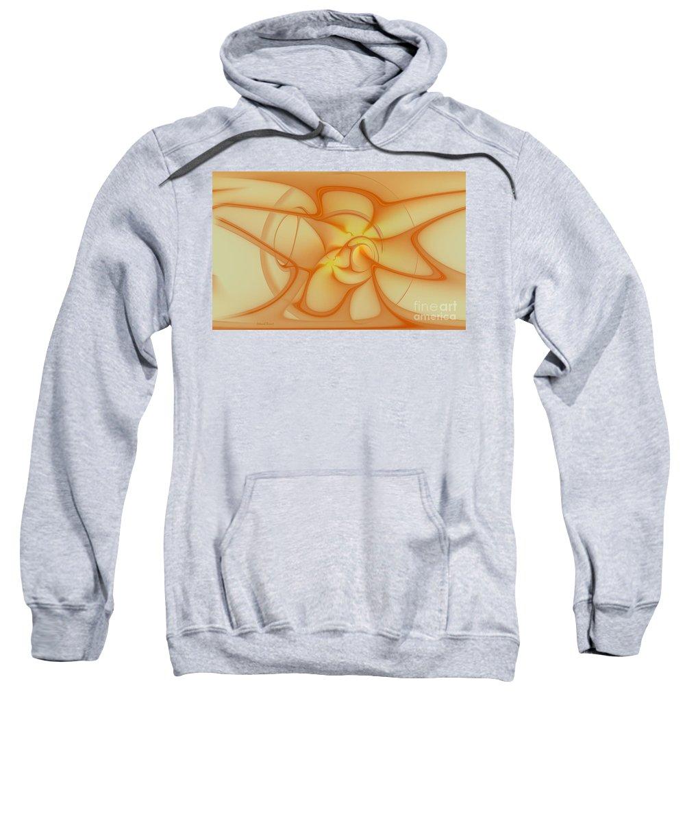 Fracta Sweatshirt featuring the mixed media Soft Golden Flow by Deborah Benoit