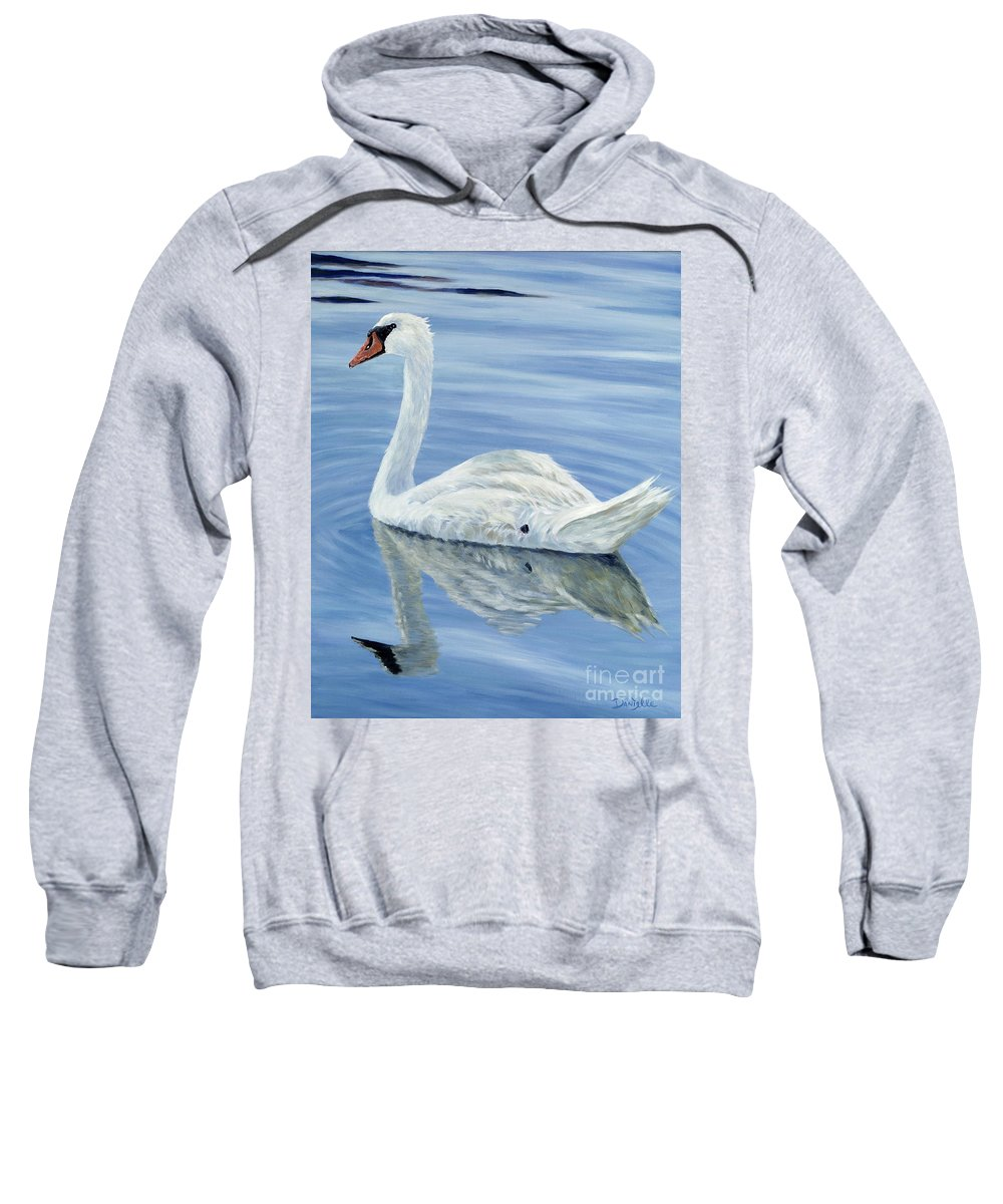 Swan Sweatshirt featuring the painting Solitary Swan by Danielle Perry
