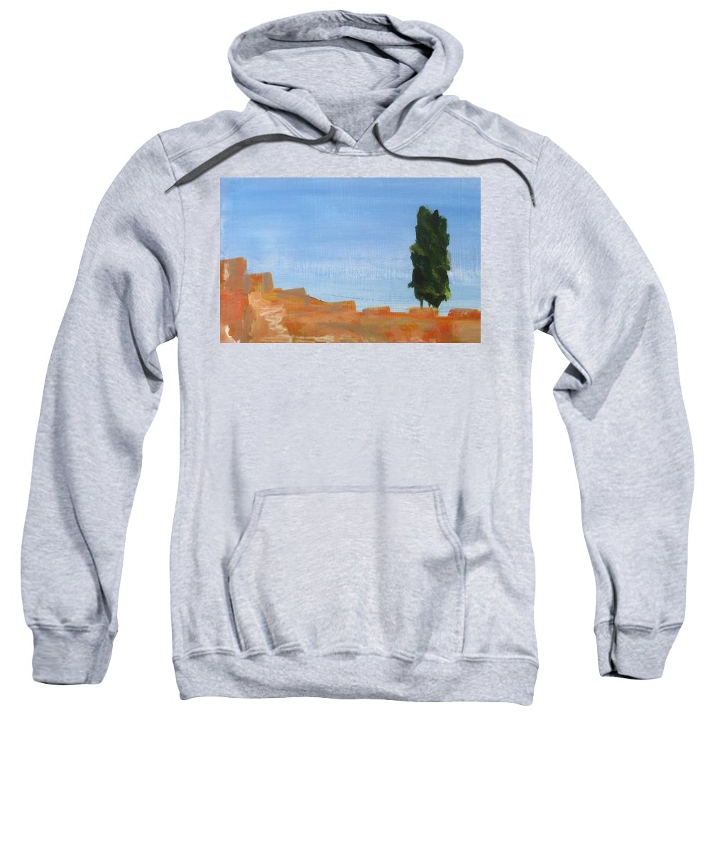Watercolor Sweatshirt featuring the painting Solitary Tree On Rocks by Katherine Berlin