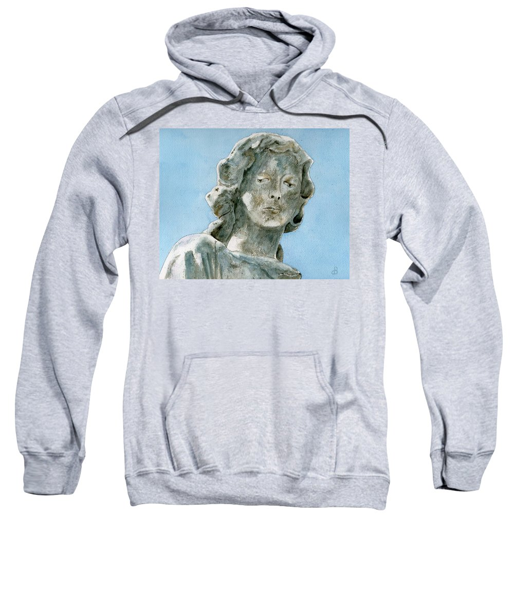 Portrait Watercolor Cemetery Statue Sky Woman Sweatshirt featuring the painting Solitude. A Cemetery Statue by Brenda Owen