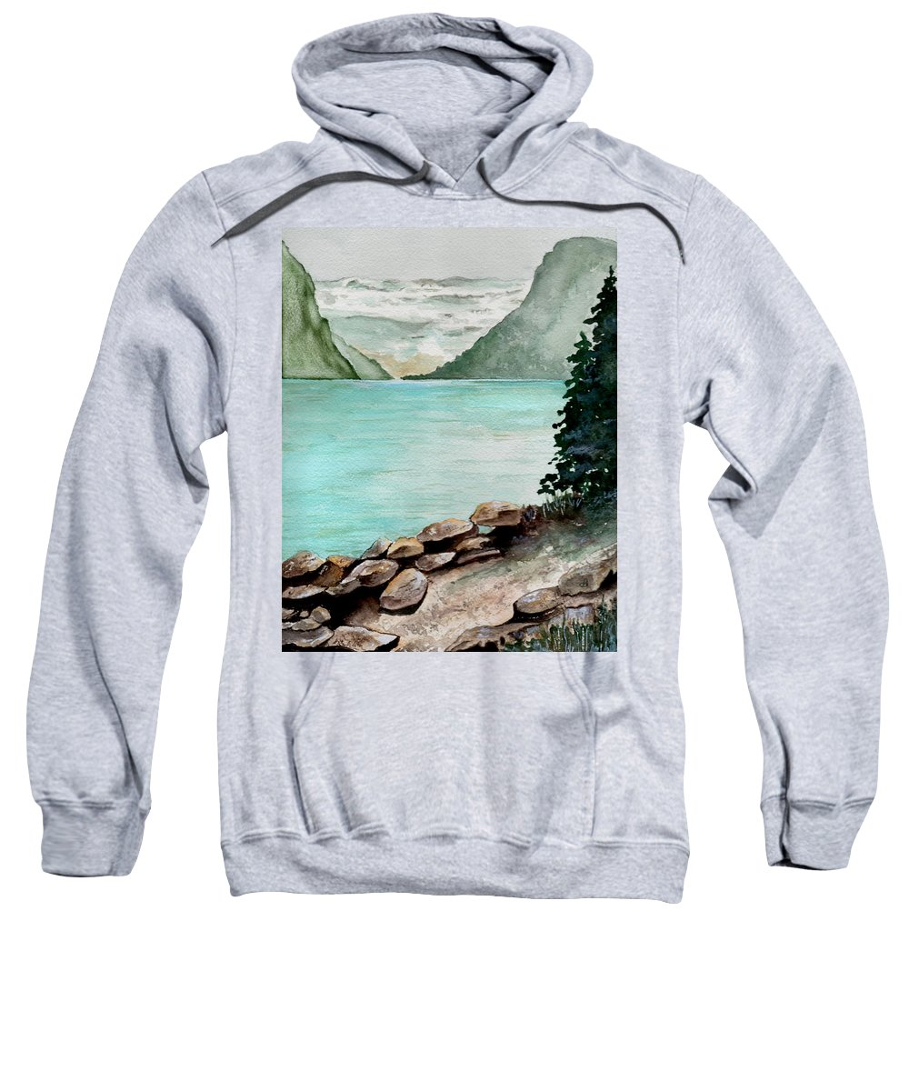 Watercolor Sweatshirt featuring the painting Solitude Of The Lake by Brenda Owen