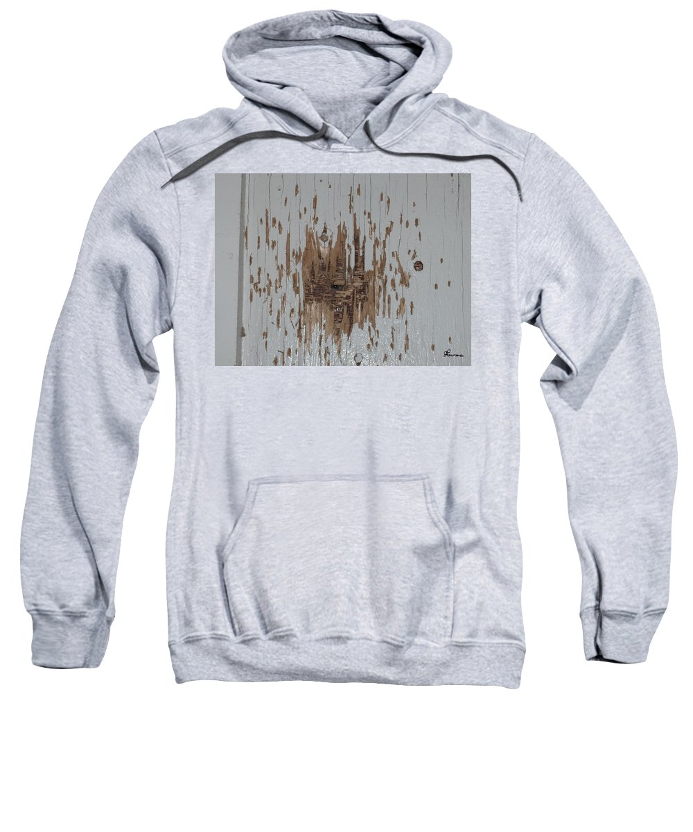 Eye Gun Shot Walls Hole Eerie Scary Wood Alone Sweatshirt featuring the photograph Someone Watching by Andrea Lawrence
