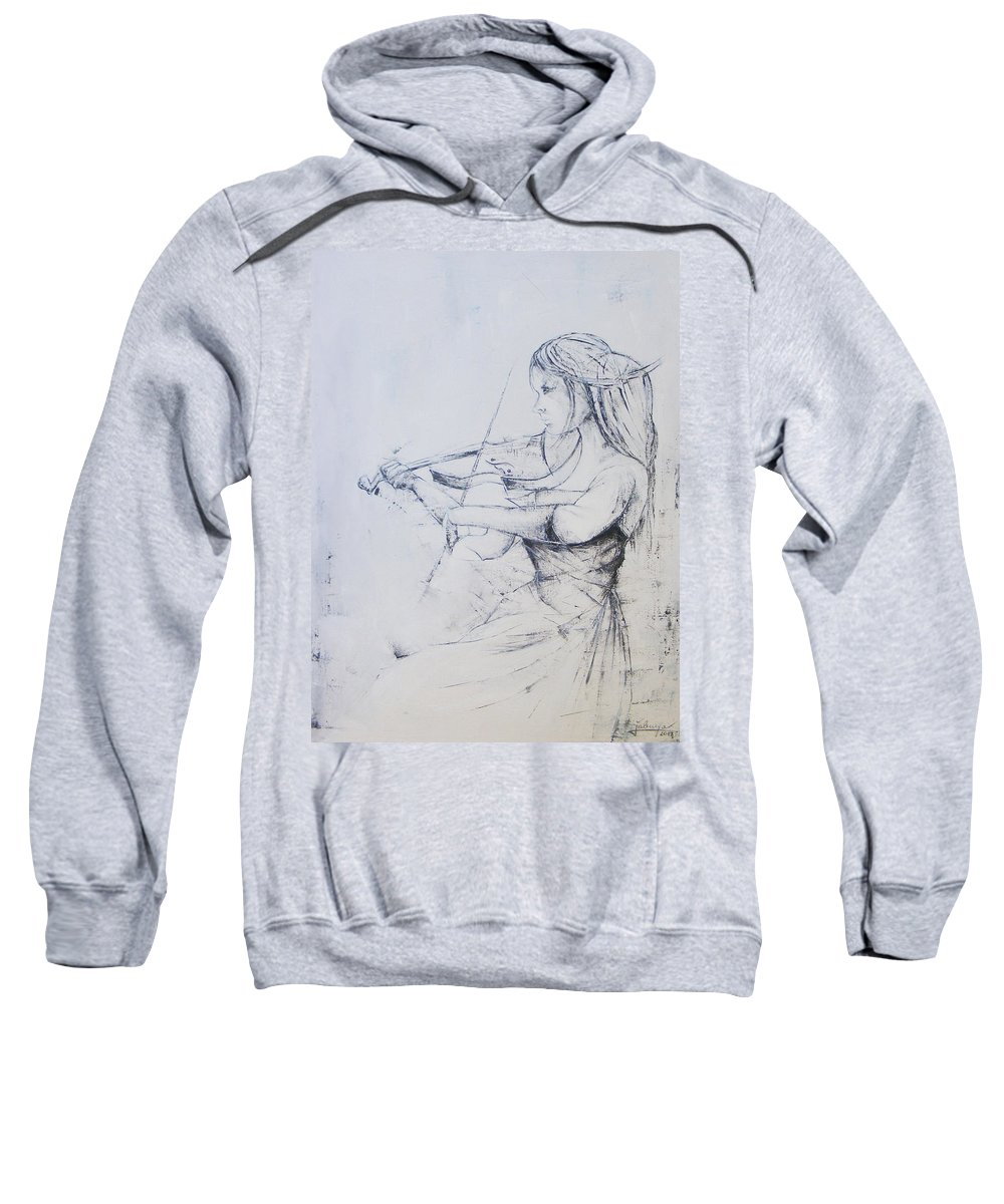 Oil Sweatshirt featuring the painting Sonata by Jovica Kostic