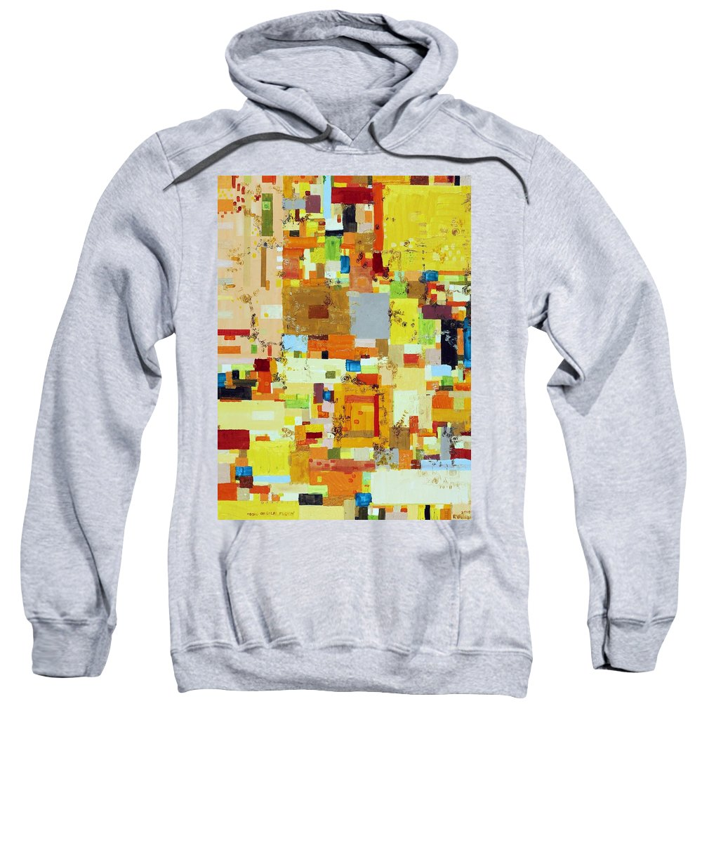Abstract Sweatshirt featuring the painting Song Of Solar Fusion by Regina Valluzzi