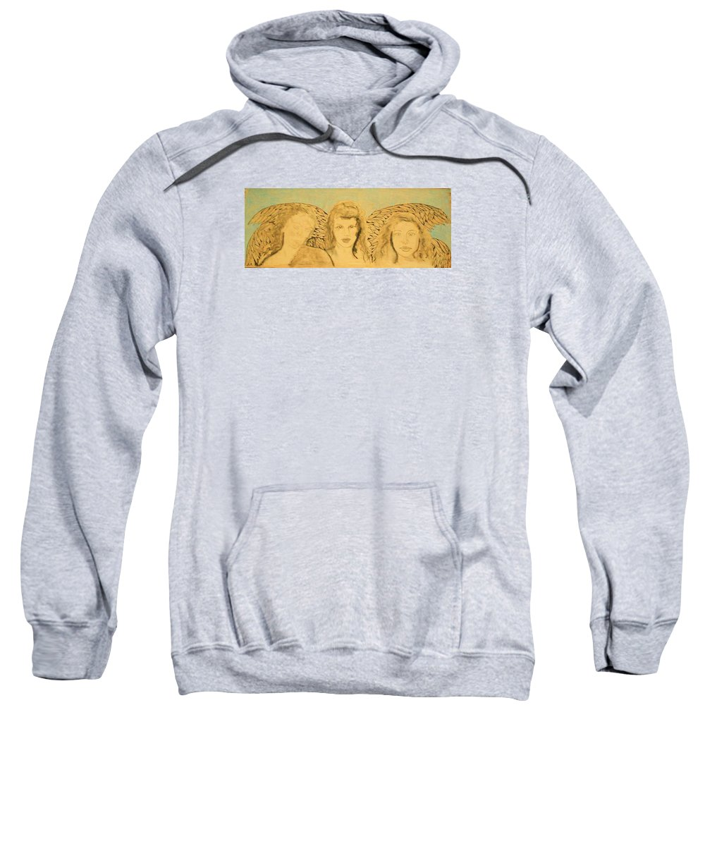 Angels Sweatshirt featuring the drawing Song Of The Sisters Unfinished by J Bauer