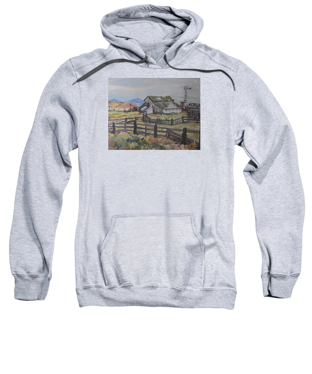 California Landscape Sweatshirt featuring the painting Sonoma County Barn by Pat Gray