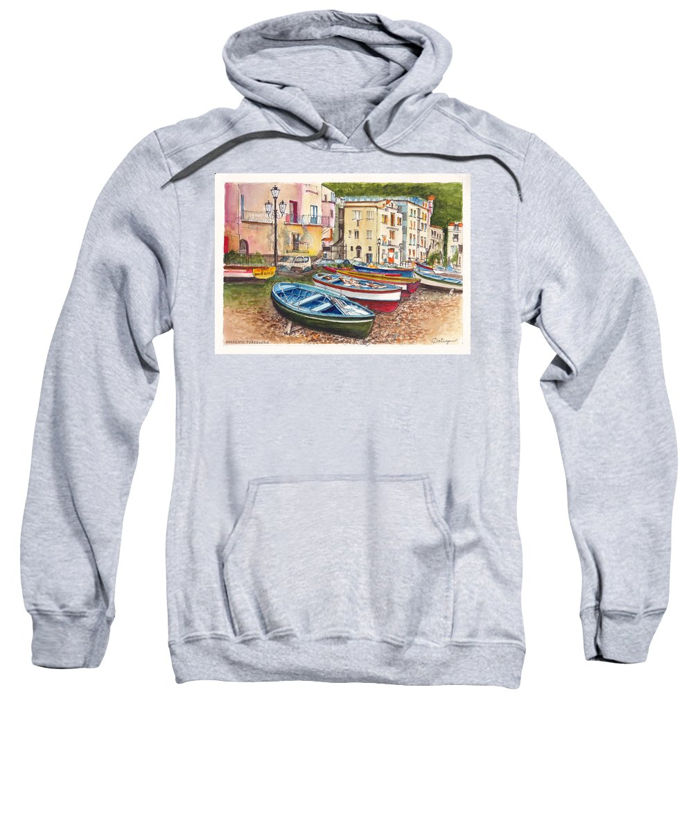 Sorrento Sweatshirt featuring the painting Sorrento Foreshore by Dai Wynn