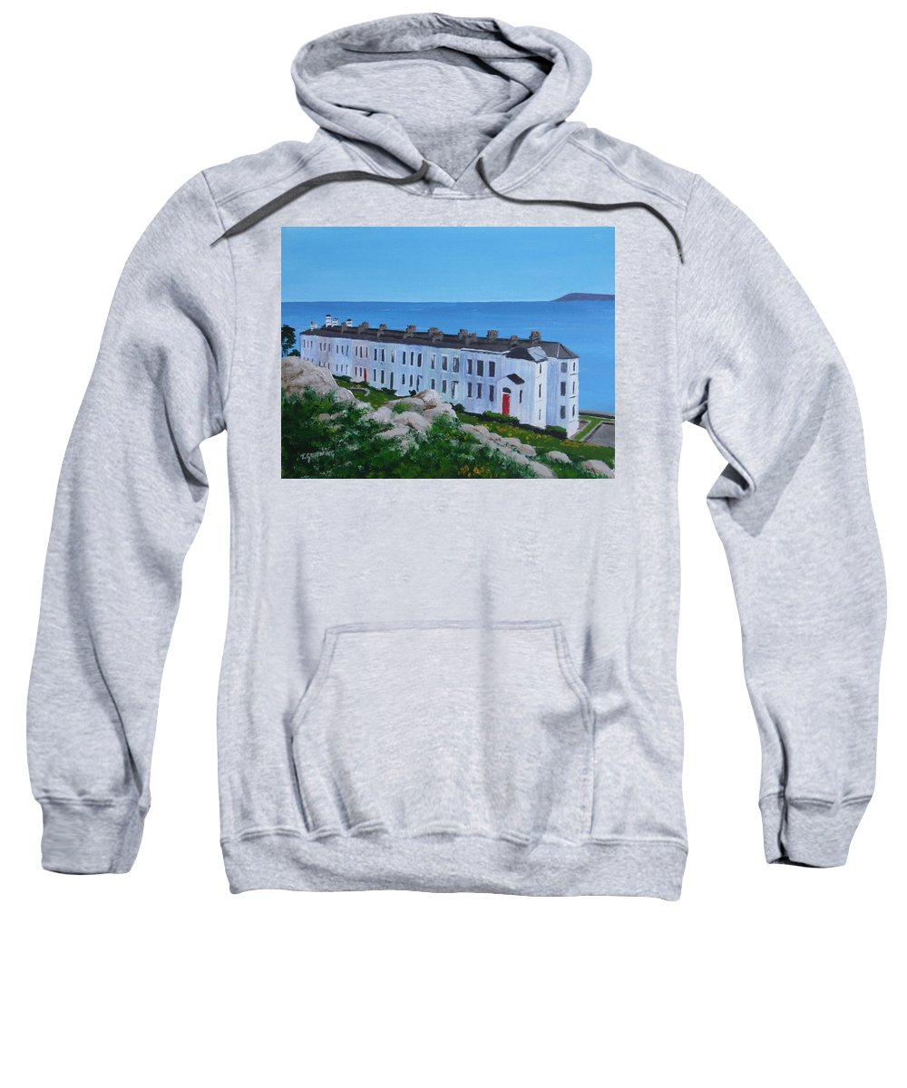 Sorrento Sweatshirt featuring the painting Sorrento Terrace, Dalkey by Tony Gunning