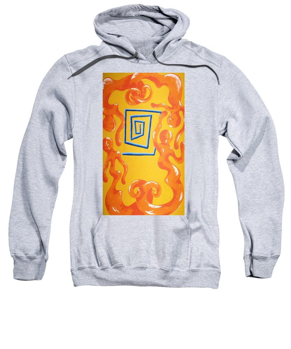 Sweatshirt featuring the painting Soul Figures 8 by Catt Kyriacou
