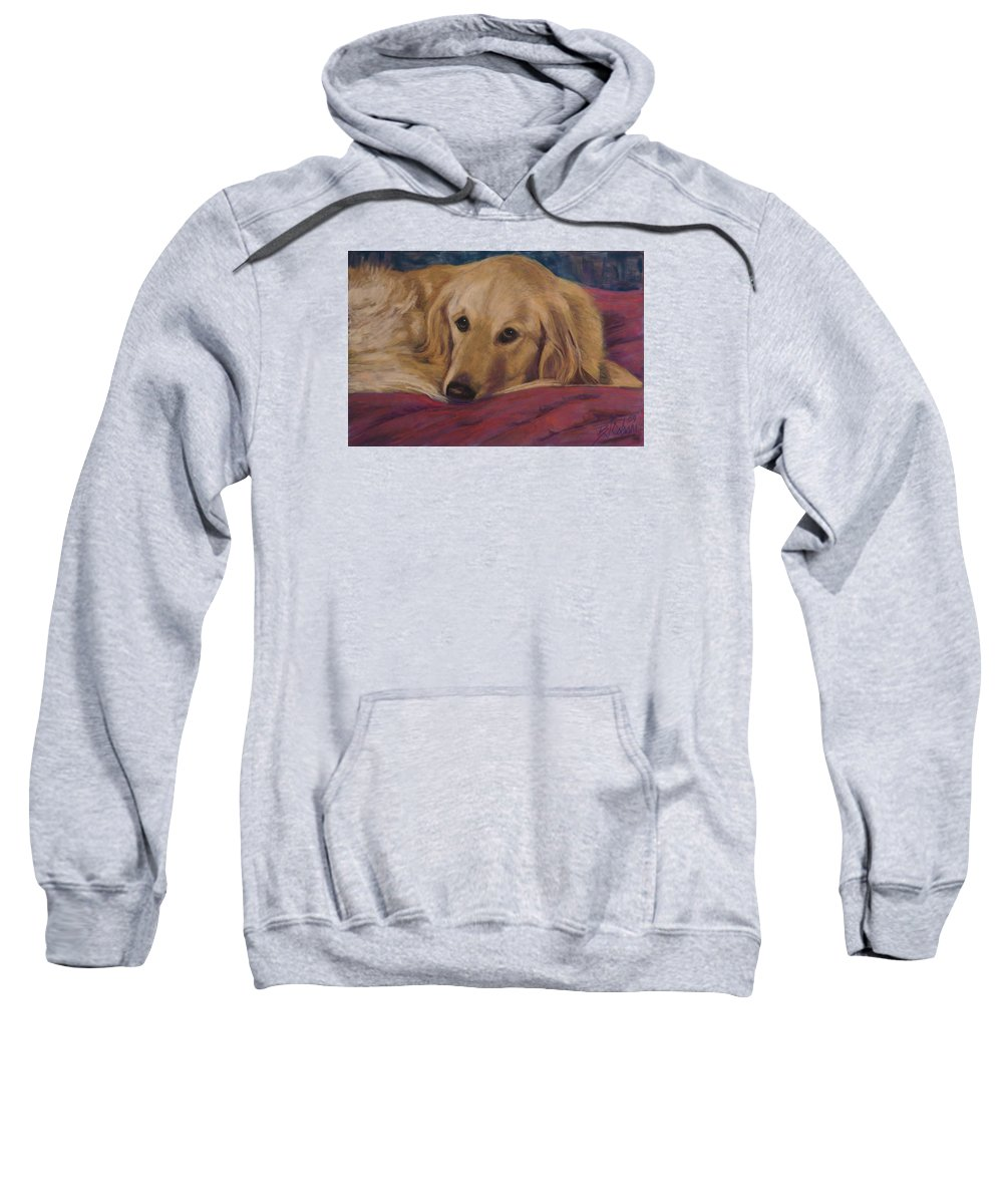 Dogs Sweatshirt featuring the painting Soulfull Eyes by Billie Colson