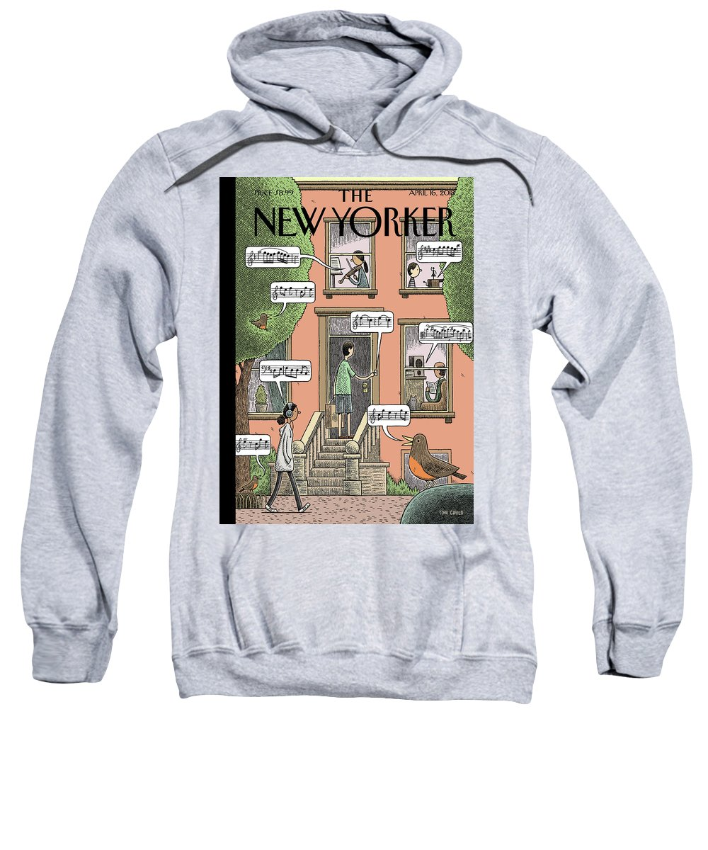 Soundtrack To Spring Sweatshirt featuring the drawing Soundtrack To Spring by Tom Gauld