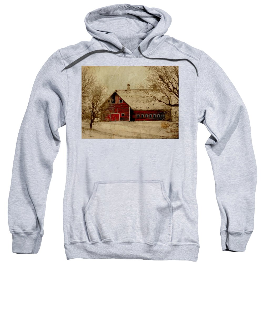 Red Sweatshirt featuring the digital art South Dakota Barn by Julie Hamilton