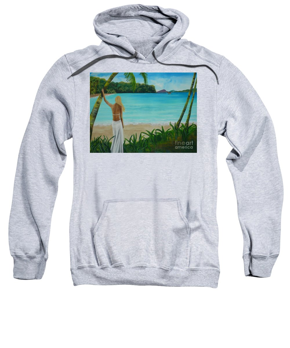 Tropical Sweatshirt featuring the painting South Pacific Dreamin by Kris Crollard