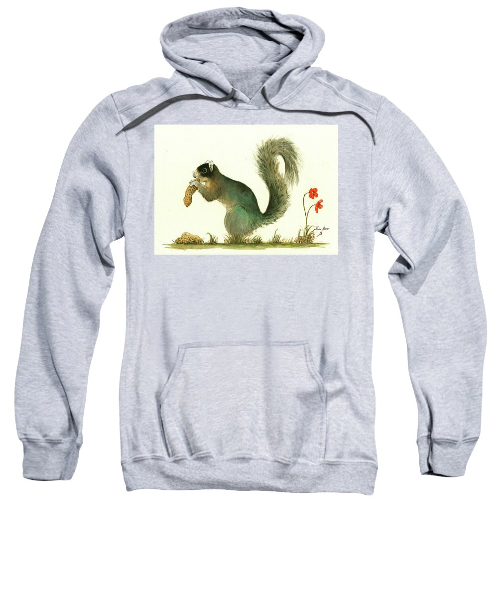 Squirrel Sweatshirt featuring the painting Southern Fox Squirrel Peanut by Juan Bosco