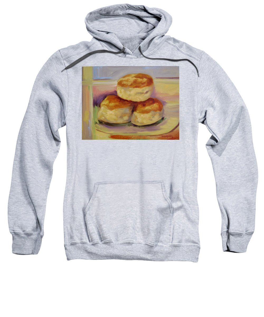 Biscuits Sweatshirt featuring the painting Southern Morning Fare by Ginger Concepcion