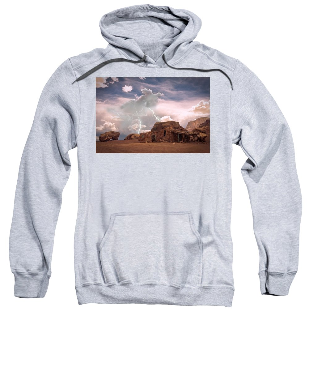 Lightning Strikes; Lightning; Nature; Landscapes; Southwest Desert; Rustic; Thunderstorms; Fine Art Sweatshirt featuring the photograph Southwest Navajo Rock House And Lightning Strikes by James BO Insogna