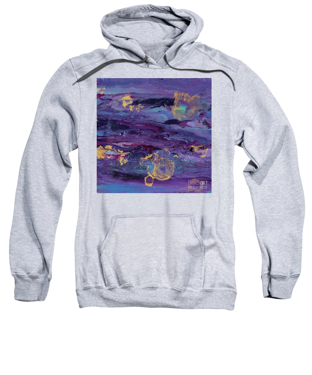 Purple Sweatshirt featuring the painting Space Royalty by Taylor Rabe