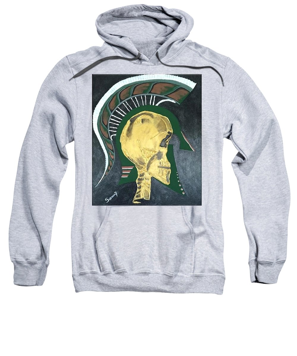 Gold Sweatshirt featuring the painting Spartan Visions by Sammy Snow