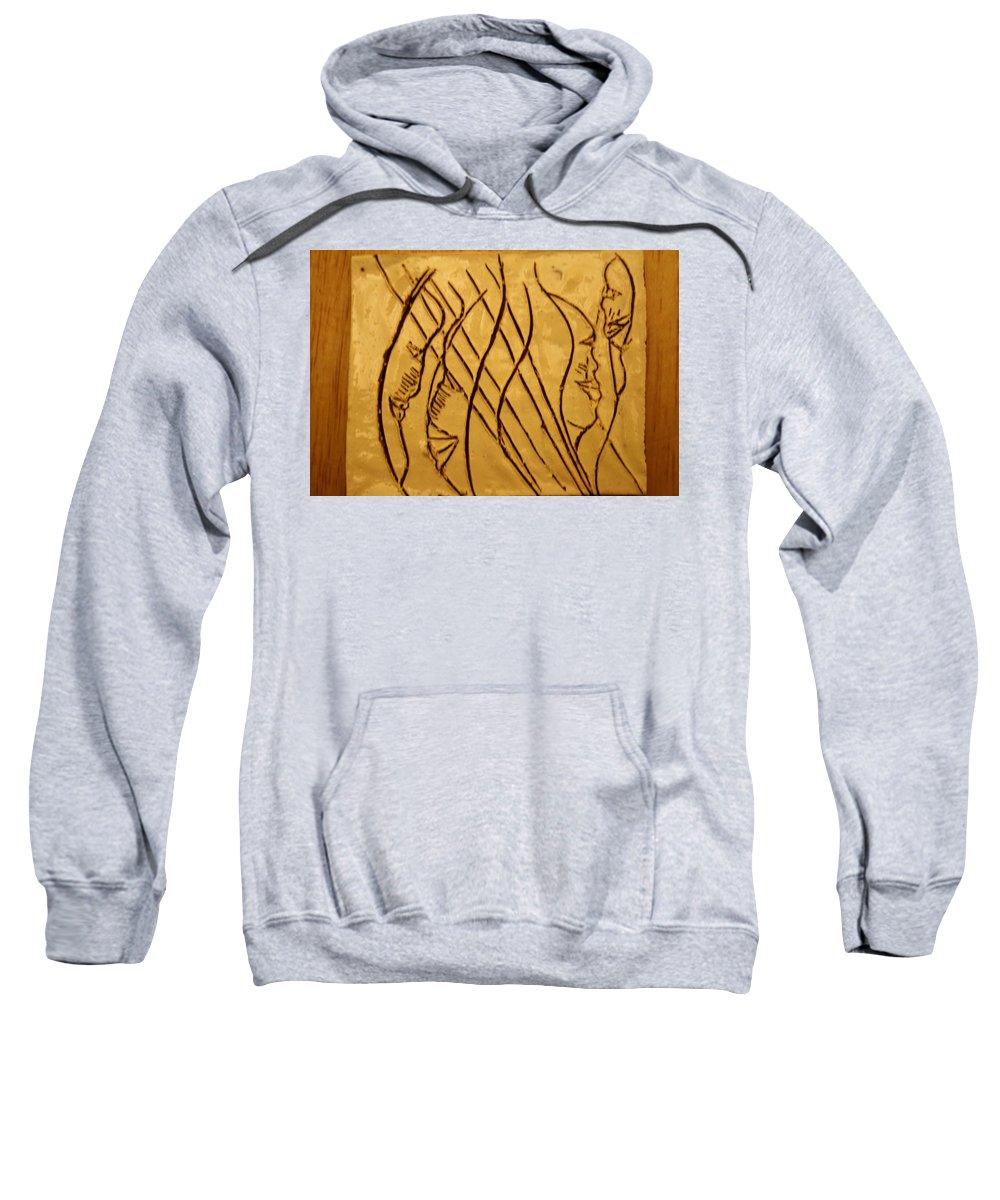 Jesus Sweatshirt featuring the ceramic art Speech Trails - Tile by Gloria Ssali