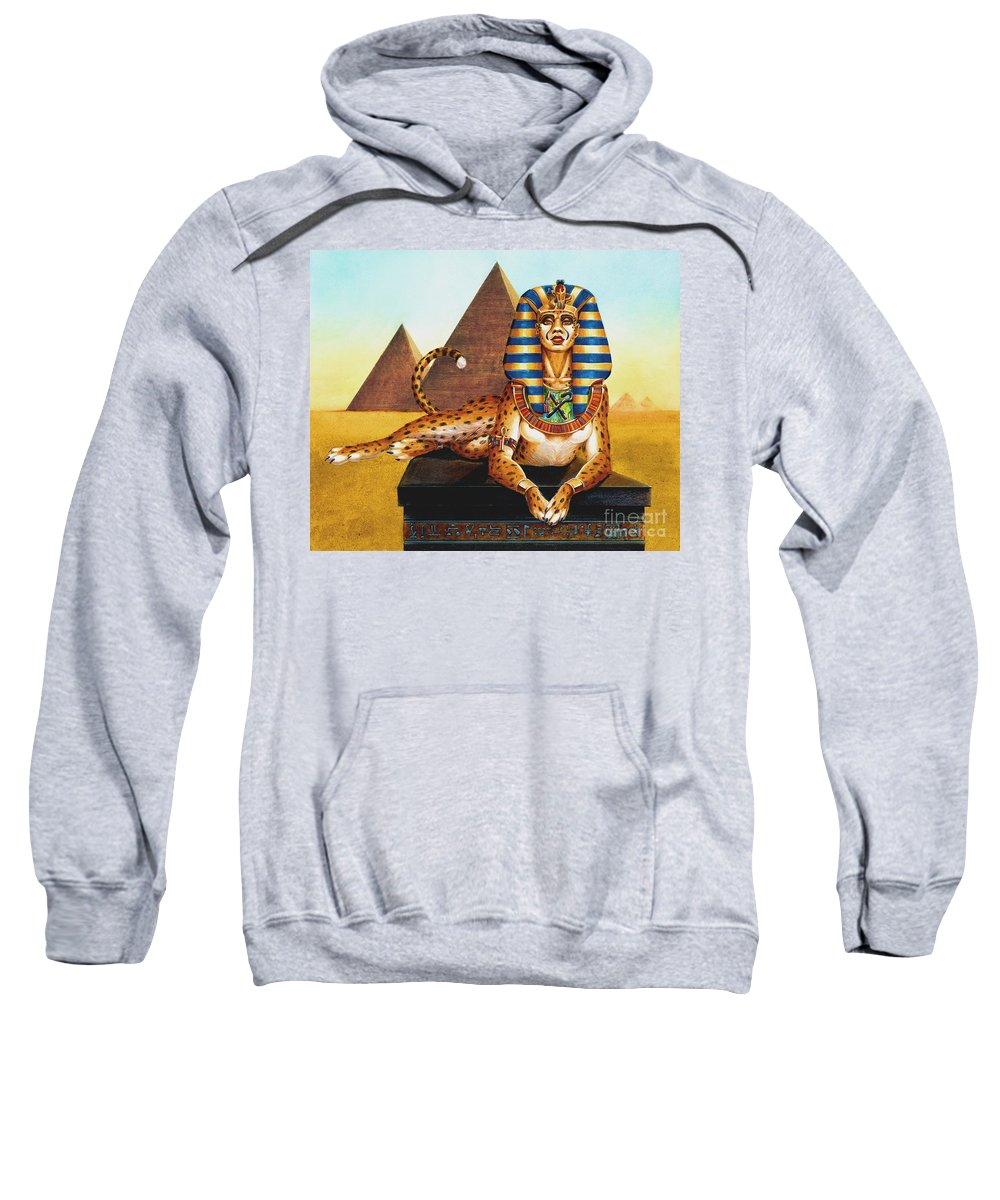 Cat Sweatshirt featuring the painting Sphinx On Plinth by Melissa A Benson