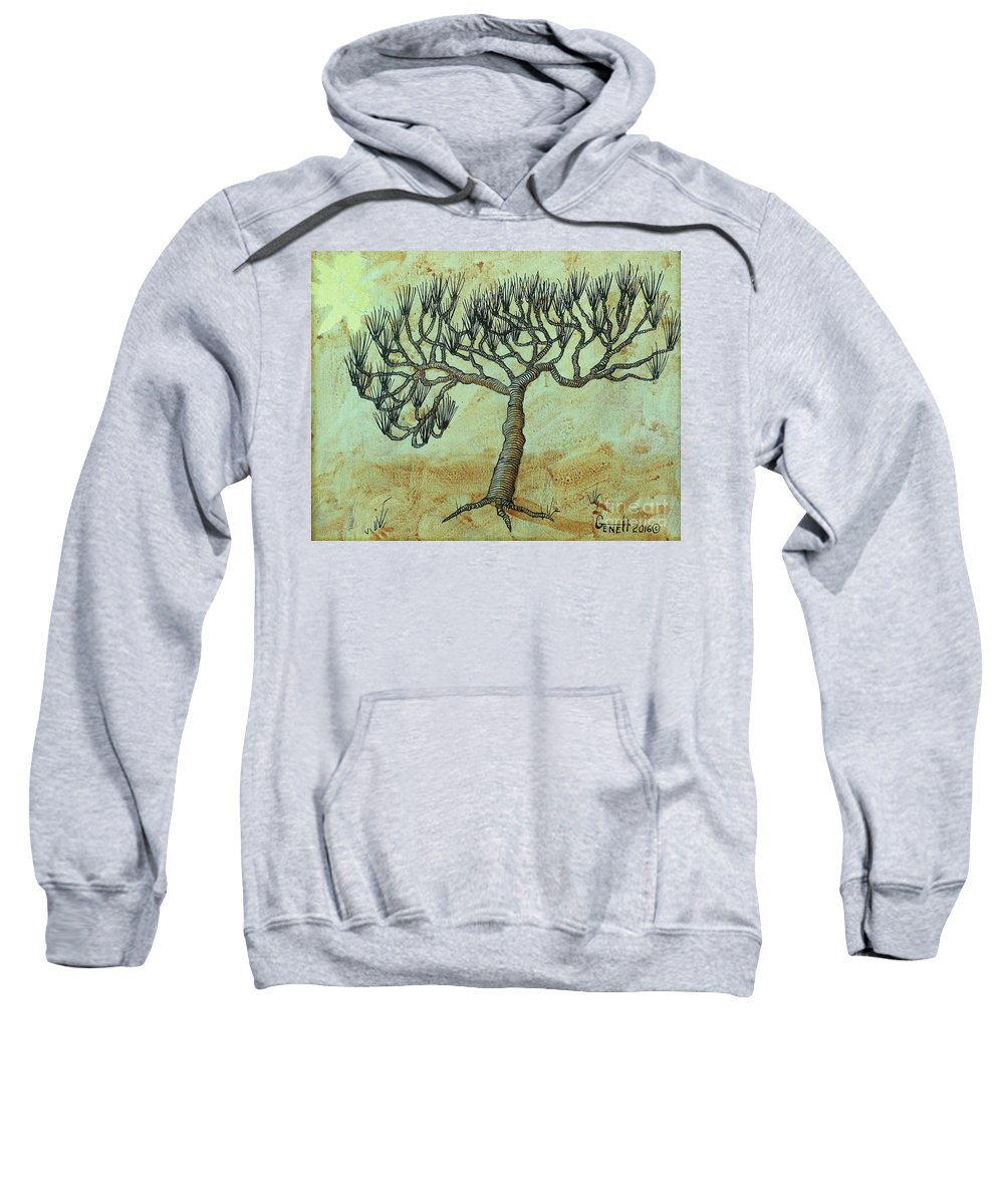 Tree Sweatshirt featuring the mixed media Spikey Tree No. 2 by Gene Huebner